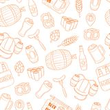 Vector beer cartoon doodle seamless background, pattern, texture, template, wallpaper. Backdrop for print, web design, T Stock Images