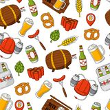 Vector beer cartoon doodle seamless background, pattern, texture, template, wallpaper. Backdrop for print, web design, T Stock Photos
