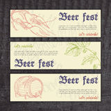 Vector beer fest banners with hand drawn crayfish Stock Image