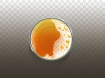 Vector beer in glass, drink top view. Vector realistic beer in glass, frothy drink top view. Golden transparent alcohol liquid, ale or lager in cup for party royalty free illustration