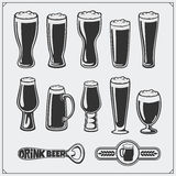 Vector beer glassware set. Stock Images