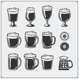 Vector beer glassware set. Royalty Free Stock Photos