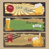 Vector beer horizontal vintage banners.  Mug, Bottle. Best price. Light, cold . Royalty Free Stock Photo