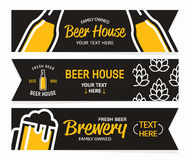 Vector beer horizontal vintage banners Royalty Free Stock Images