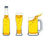 Vector beer icon pixel art set on white background Royalty Free Stock Photo