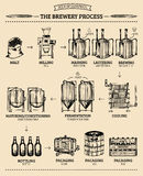 Vector beer infographics with illustrations of brewery process. Ale producing design. Lager production sketched scheme. Vector beer infographics with Stock Image