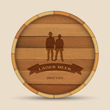 Vector beer label. Wooden barrel with two men stock illustration