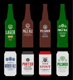 Vector beer labels, bottle and can mockups. Beer labels, bottle and can mockup templates. Pale ale, pilsner, lager, stout, porter and amber ale labels. Brewing stock illustration