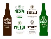 Vector beer labels and bottle mockups. Beer labels and bottle mockup templates. Pale ale, pilsner, porter, stout and lager labels. Brewing company branding and royalty free illustration