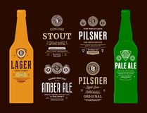 Vector beer labels and bottle mockups. Beer labels and bottle mockup templates. Pale ale, pilsner, stout, amber ale and lager labels. Brewing company branding royalty free illustration
