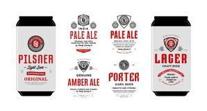 Vector beer labels and can mockups. Beer labels and can mockup templates. Pale ale, pilsner, lager, porter and amber ale labels. Brewing company branding and vector illustration