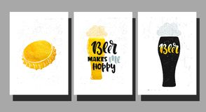 Vector beer makes. Vector hand drawn illustration. Set poster for the bar. Beer makes me hoppy! Lettering Stock Image