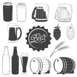 Vector beer monochrome icons set Stock Photography
