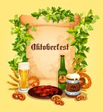 Vector beer poster for Oktoberfest German festival. Oktoberfest beer festival poster template. Vector beer mug or glass of ale or pint and traditional German Royalty Free Stock Photo