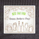Vector beer vintage hand drawn greeting card for. Father day with label - best dad ever, bottle, pretzel and glass Stock Images