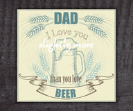 Vector beer vintage hand drawn greeting card for royalty free stock photos