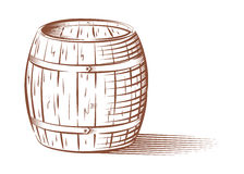 Vector beer or wine barrel. Vector engraved beer or wine barrel, isolated on white background stock illustration