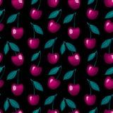 Vector Beeren einer süßen Kirsche mit einem Blatt, das auf einem schwarzen Hintergrund lokalisiert wird Vektor Abbildung