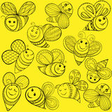 Vector bees for adult coloring page. Hand drawn funny magic yell Royalty Free Stock Photo