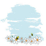 Bees and daisies. Vector bees and daisies on sky background stock illustration