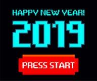 Vector 2019, begin, gelukkig nieuw jaar, Spel, pixel stock afbeelding