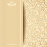 Vector beige card with floral pattern. Royalty Free Stock Image