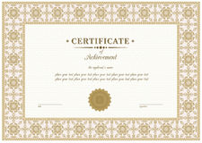 Vector beige certificate Stock Photography