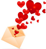 Vector beige envelope with red shining hearts Stock Photo