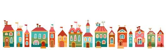 Vector a beira com a casa bonito no estilo das crianças Imagens de Stock