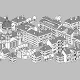 Vector a beira com casas, árvores e fonte. Imagens de Stock