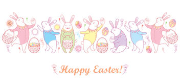 Vector a beira feliz da Páscoa com o coelho, o ovo e a cesta de easter do esboço nas cores pastel isolados no fundo branco Imagens de Stock Royalty Free