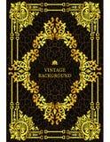 Vector a beira luxuosa do vintage no estilo barroco com quadro floral do teste padrão do ouro O molde para as capas do livro, pág ilustração royalty free