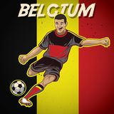 Belgium soccer player with flag background Royalty Free Stock Image
