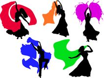 Vector belly dancing black woman silhouette on white Stock Photos