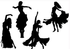 Vector belly dancing black woman silhouette on white Stock Photography