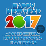 Vector beright sticker Happy New Year 2017 greeting card. With set of letters, symbols and numbers. File contains graphic styles Stock Photography