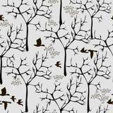 Vector Beschaffenheit mit Vögeln und Bäumen lizenzfreie abbildung