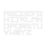 Vector beschmutztes Alphabet der Illustration schwarzer Tupfen Versalienl Stockfoto