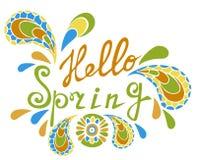 Vector Beschriftungshallo Frühling mit dekorativen Elementen auf weißem Hintergrund Stockfotografie