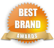 Vector best brand awards. Isolated white best brand awards Royalty Free Stock Photo