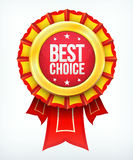 Vector best choice gold red label with ribbons. Stock Image