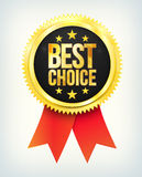 Vector best choice golden label with ribbons Royalty Free Stock Image