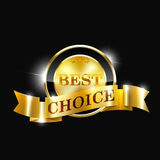 Vector best choice label with gold ribbon. Best price gold label Royalty Free Stock Image