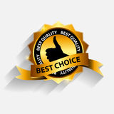 Vector best choice label with red ribbon. Royalty Free Stock Photo