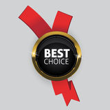 Vector best choice red label with ribbons. Royalty Free Stock Image