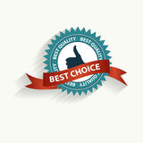 Vector best choice retro label with gold ribbon. Royalty Free Stock Images