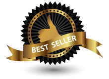 Vector Best Seller label with red ribbon. Royalty Free Stock Photos