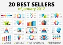 Vector beste infographicsreeks Bedrijfsdiagrammen, pijlengrafieken, startpresentatiesmalplaatje, ideegrafieken gegevens royalty-vrije illustratie