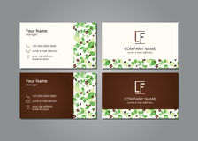 Vector Besuchskarten-Kaffeebohnen auf grauem Feld Stockfotos