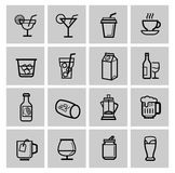 Vector beverages icons set Royalty Free Stock Photo